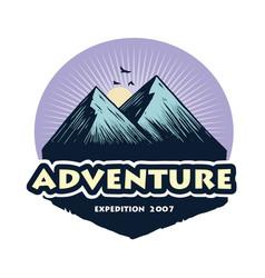 Logo camping mountain climbing adventure vector