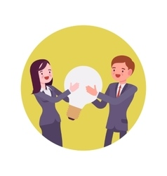 Man and woman hold together light bulb vector