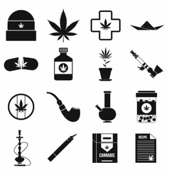Marijuana icons set simple style vector