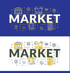 market flat line concept for web banner and vector image