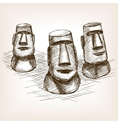 Moai easter island hand drawn sketch style vector
