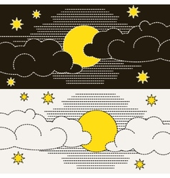 Moon clouds and stars vector