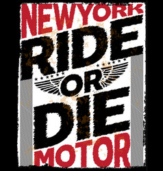 Motorcycle newyork poster tee graphic design vector