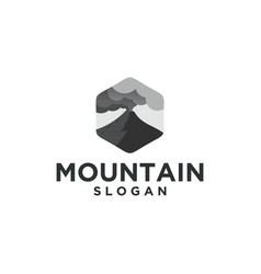 mountain eruption logo with cloud vector image