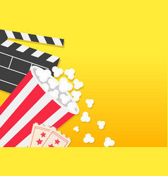Movie reel open clapper board popcorn bucket box vector