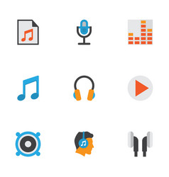 Multimedia flat icons set collection of earpiece vector