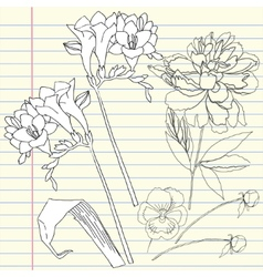 Notebook set with peony and freesia vector