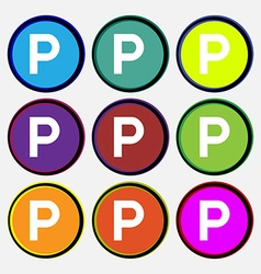 Parking icon sign Nine multi colored round buttons vector
