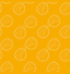 Pattern of white sunglasses on yellow fond vector