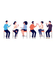 people sitting on bar stools friends meeting man vector image