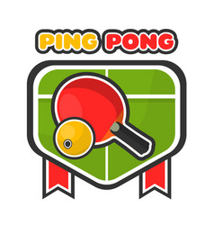 ping pong game colorful logotype with table and vector image