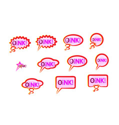 Pink speech bubble icons set wish inscription vector