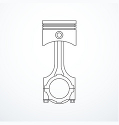 Piston and connecting rod assembly vector