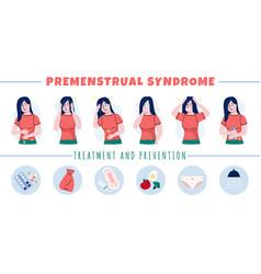 Pms symptoms premenstrual syndrome women moods vector
