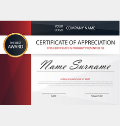 Red elegance horizontal certificate with vector
