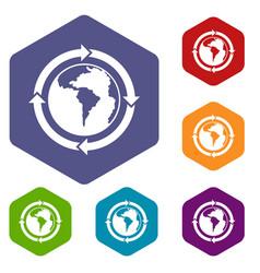 Round arrows around world planet icons set hexagon vector