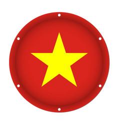 Round metallic flag of vietnam with screw holes vector
