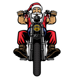 santa claus ride classic chopper motorcycle vector image