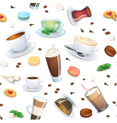 seamless pattern with coffee drinks tea and sweets vector image