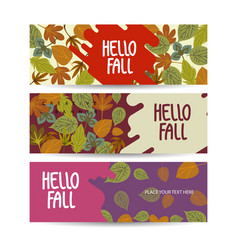 set autumn sale background banner abstract vector image