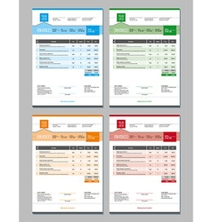 Set of Invoice Design Templates 4 Color Themes vector