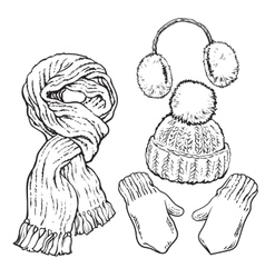 Set of knotted scarf hat ear muffs and mittens vector image