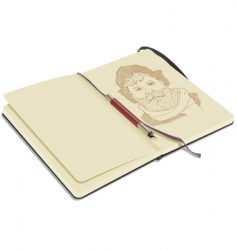 sketchbook with pen vector image