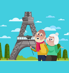 Smiling old couple doing selfie in paris vector