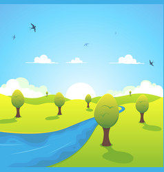 spring or summer river and flying swallows vector image