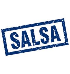 Square grunge blue salsa stamp vector