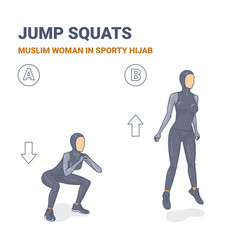 Squats and jumps muslim woman in sporty hijab vector