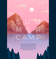 summer camp poster - lake forest mountain vector image