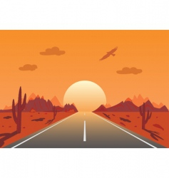 sunset road in Mexican desert vector image