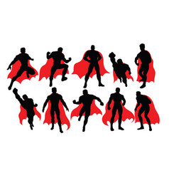 Superhero activity silhouettes vector