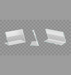 Table display acrylic holders realistic set vector