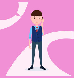teen boy character serious phone call male vector image
