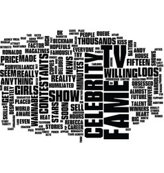 The price of fame text background word cloud vector
