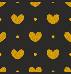 tile pattern with golden hearts and dots on black vector image