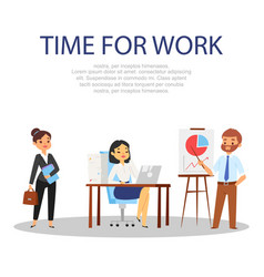 time for work people on white background vector image