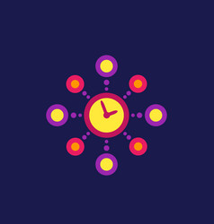 Time management planning icon flat style vector