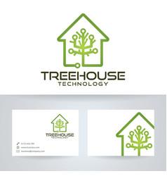Tree house technology logo design vector