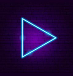 Triangle arrow neon sign vector