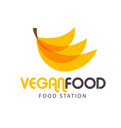 vegan food station banana background image vector image