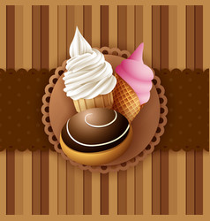 Vintage background with ice cream and bread vector