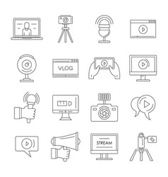 Vlog video channel logo icons set outline style vector