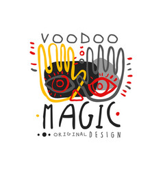 voodoo african and american magic logo with hands vector image