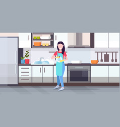 woman washing dishes housewife wiping plates with vector image