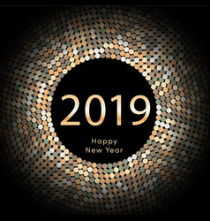 yellow discoball new year 2019 greeting poster vector image