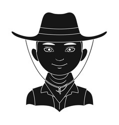 amnricanianhuman race single icon in black style vector image