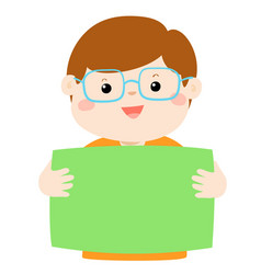 cute boy holding blank banner vector image vector image